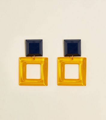 Yellow Clear Resin Square Drop Earrings