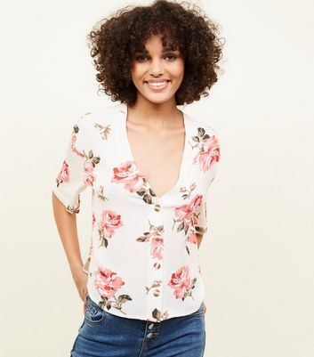 Cameo Rose Floral Button Front Blouse