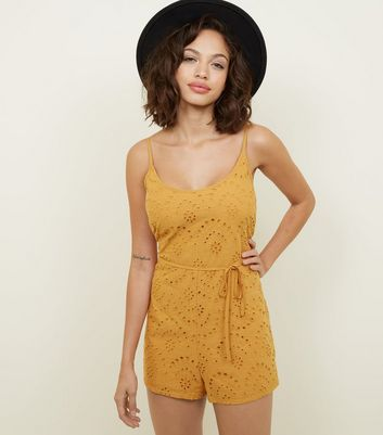 Cameo Rose Mustard Broderie Playsuit