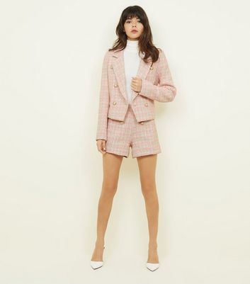 Cameo Rose Pink Double Breasted Bouclé Jacket