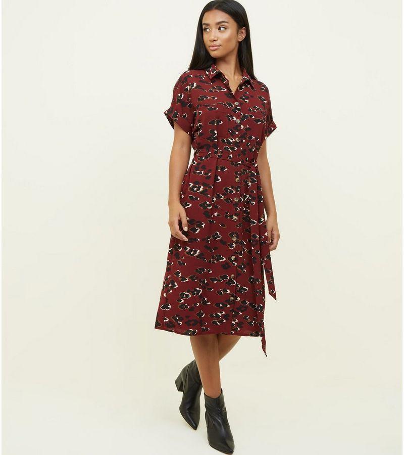 856511ecfc1bd New Look Petite Burgundy Camo Print Midi Shirt Dress at £18.74 ...