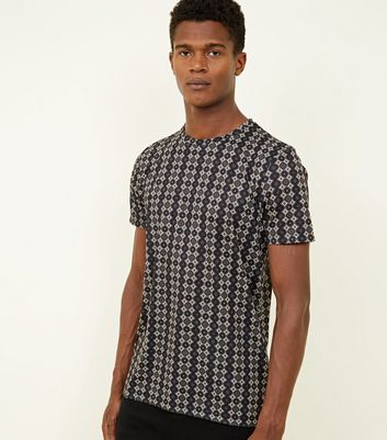 Black Tile Print T-Shirt