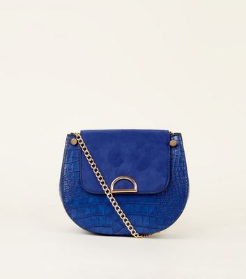 Bright Blue Faux Croc Saddle Bag by New Look