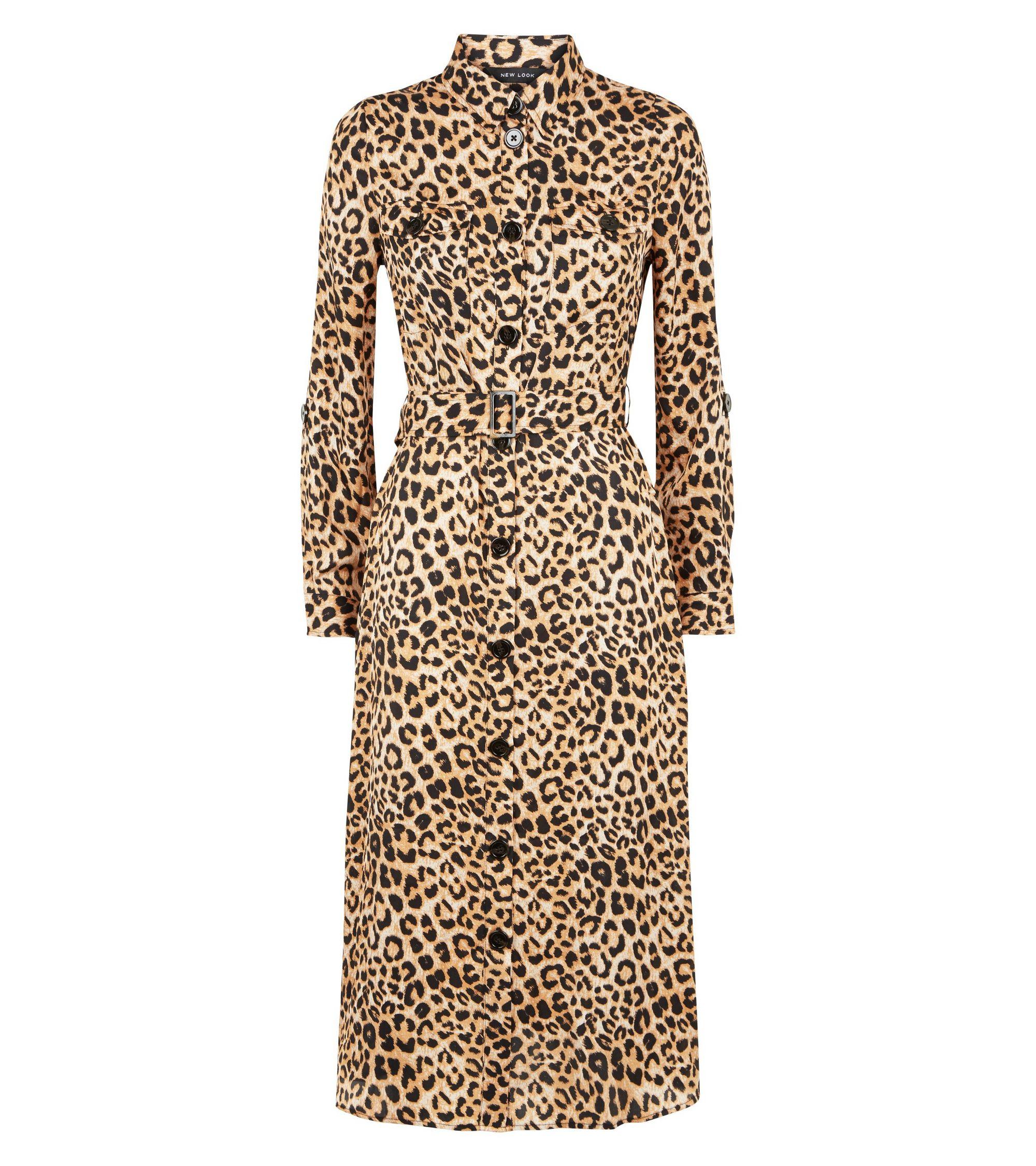 8298d47f37e6 New Look Brown Leopard Print Satin Midi Shirt Dress at £29.99