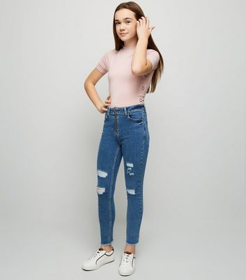 Girls Blue Ring Zip High Waist Skinny Jeans