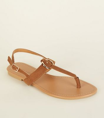 Tan Suedette Between Toe Sandals