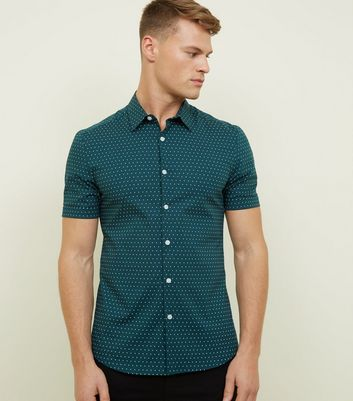 Dark Green Spot Print Muscle Fit Shirt