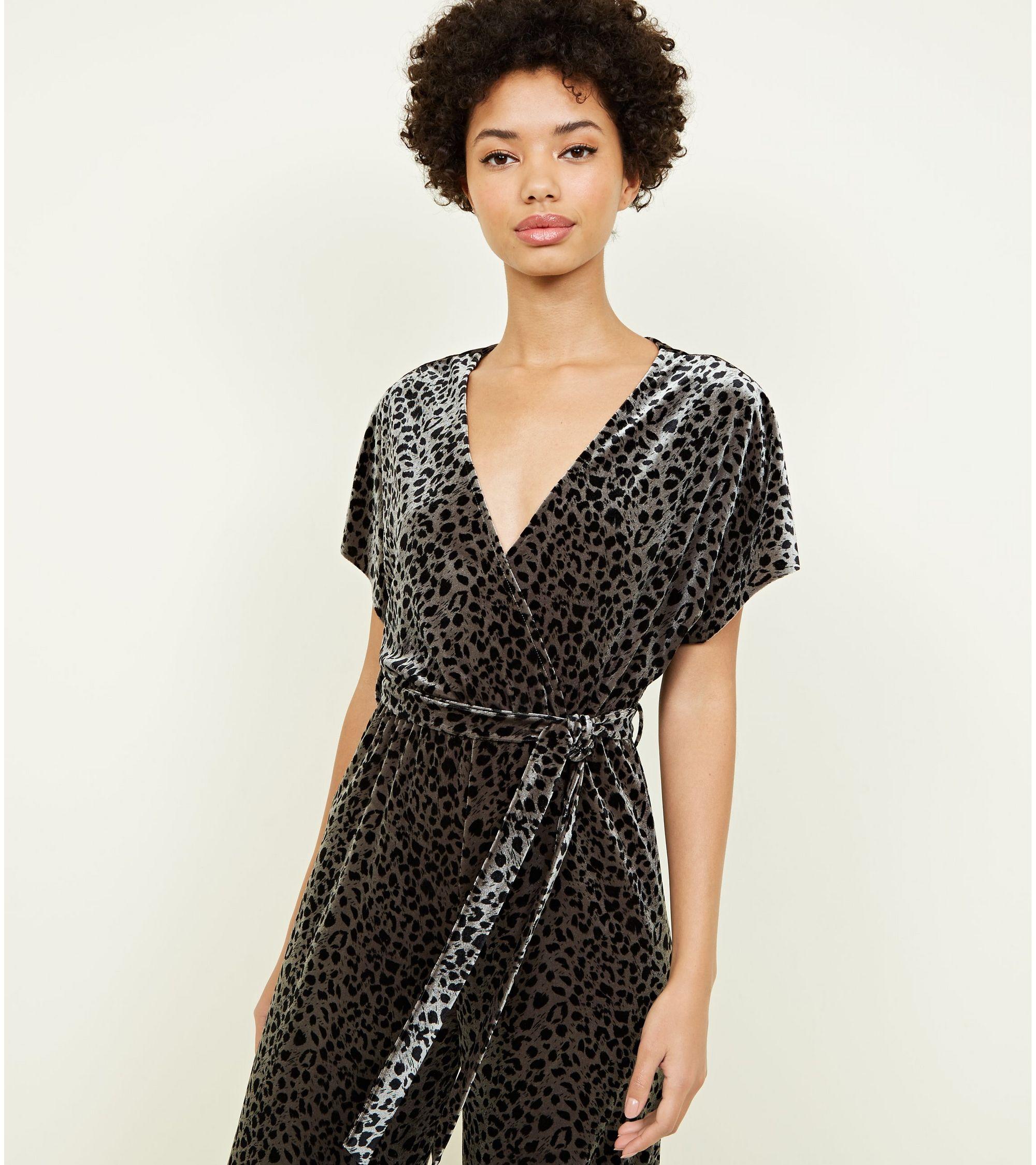 a3c34c9880 New Look Khaki Leopard Print Velvet Wrap Front Jumpsuit at £22.49 ...
