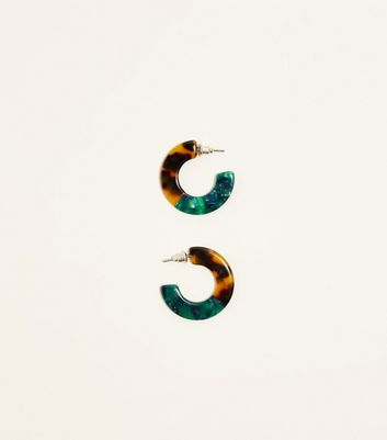 Brown and Teal Huggie Hoop Earrings