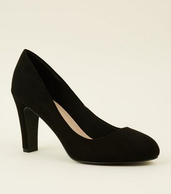 Black Comfort Flex Suedette Court Shoes by New Look
