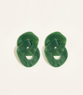 Green Resin Linked Hoop Earrings