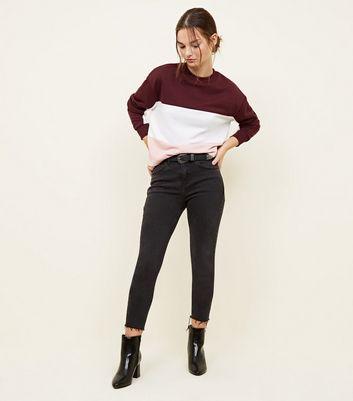 Petite Burgundy Colour Block Sweatshirt by New Look