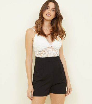 Cameo Rose Black 2 in 1 Lace Playsuit