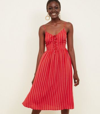 Red Stripe Lace-Up Front Midi Dress