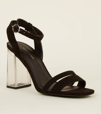 Black Suedette Strappy Clear Block Heels