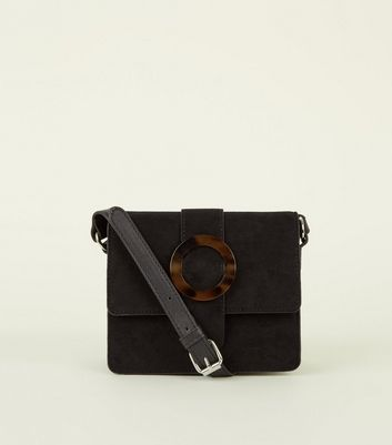 Black Tortoiseshell Resin Buckle Front Shoulder Bag by New Look