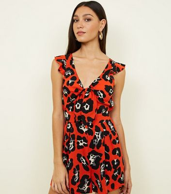 Cameo Rose Red Animal Print Cut Out Playsuit