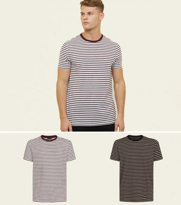 2 Pack Red and Brown Striped T-Shirts
