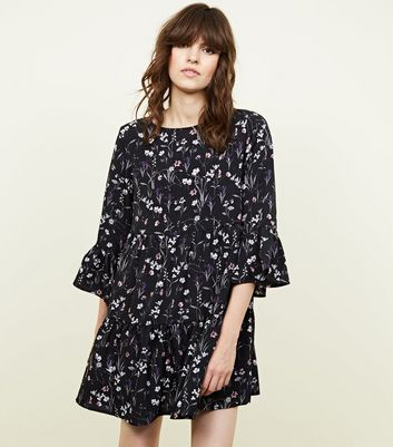 Apricot Black Floral Printed Bell Sleeve Dress