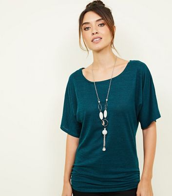 Apricot Green Marl Necklace Top