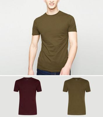 2 Pack Burgundy and Green Muscle Fit T-Shirts