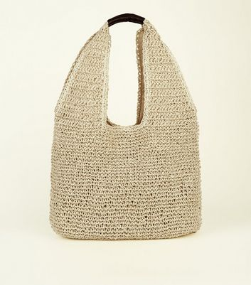 Cream Woven Slouch Tote Bag