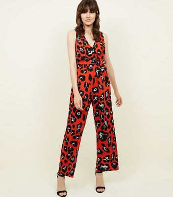 Cameo Rose Red Leopard Print Wrap Jumpsuit