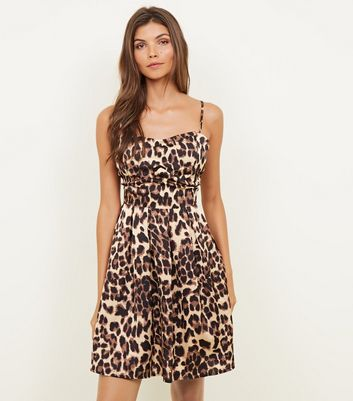 Cameo Rose Brown Leopard Print Bustier Satin Dress