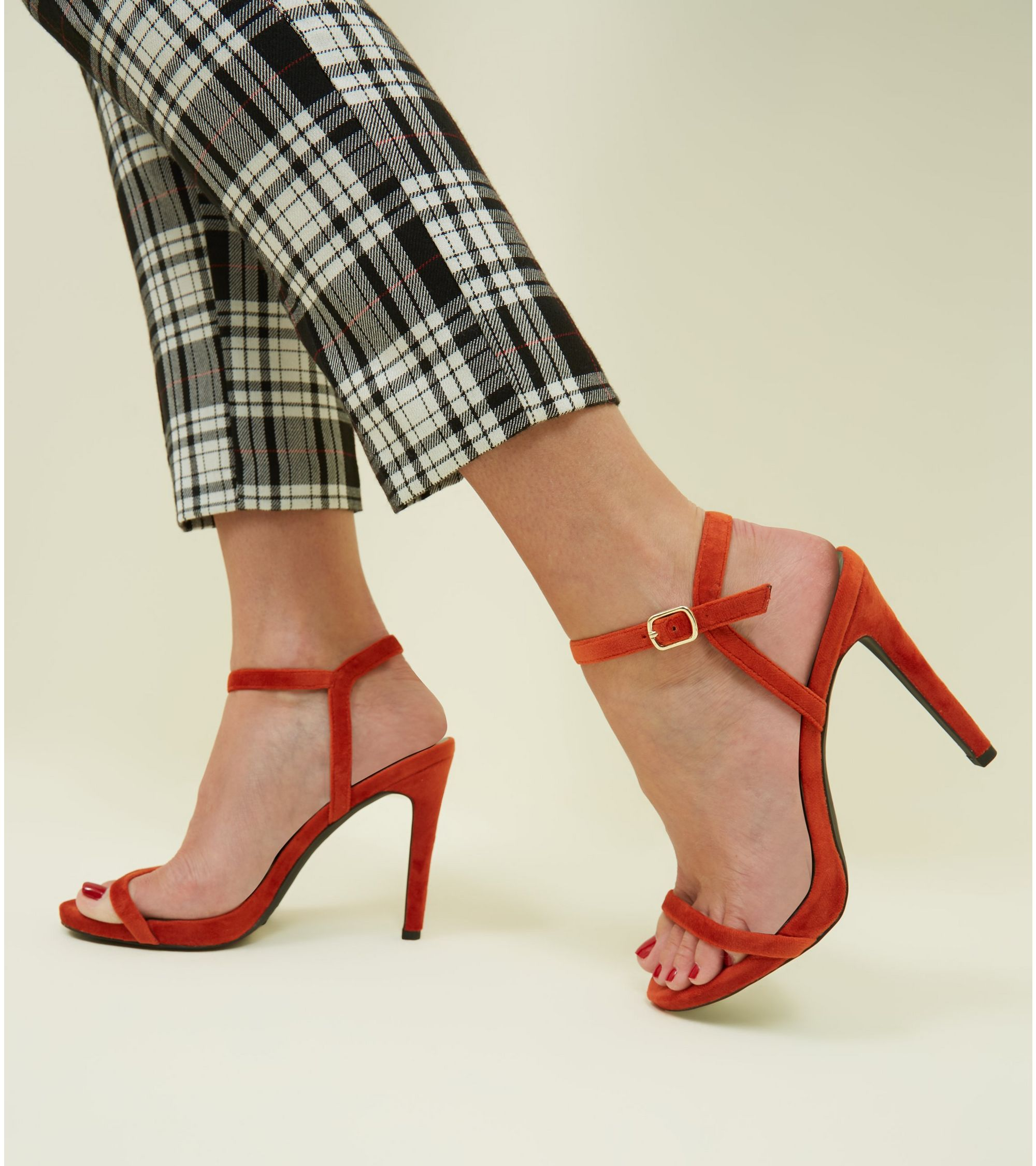 0aa4d79ac9c Bright Orange Velvet Stiletto Heel Sandals
