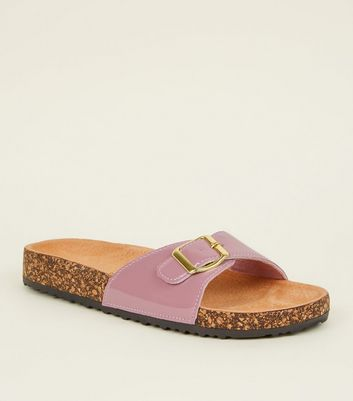 Lilac Leather Lined Footbed Sandals