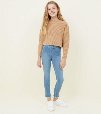 Girls Blue High Rose Fray Hem Skinny Jeans by New Look