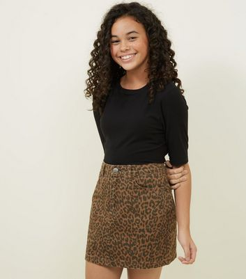 Girls Brown Leopard Print Denim Mini Skirt