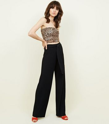 Cameo Rose Black Pleated Tie Waist Trousers