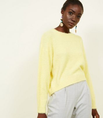 Yellow Long Sleeve Fluffy Jumper by New Look