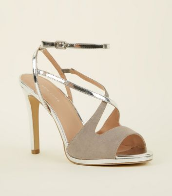 Silver and Grey Cross Strap Peep Toe Stilettos