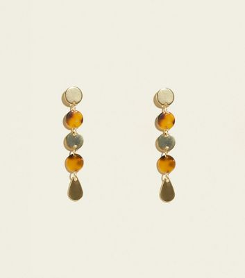 Gold And Tortoiseshell Resin Disc Drop Earrings by New Look