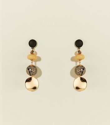 Black Multi Bead Faux Snakeskin Orb Drop Earrings by New Look