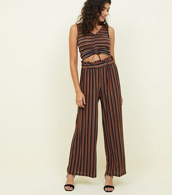 Cameo Rose Blue Glitter Stripe Wide Leg Trousers