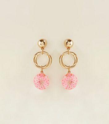 Mid Pink Flower Resin Drop Earrings by New Look