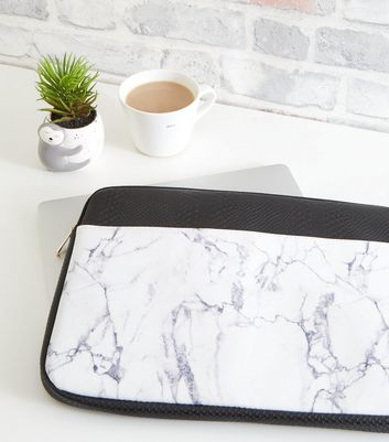 "Black Faux Croc and Marble Effect 15"" Laptop Case"