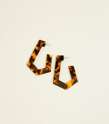 Brown Hexagonal Faux Tortoiseshell Hoop Earrings by New Look