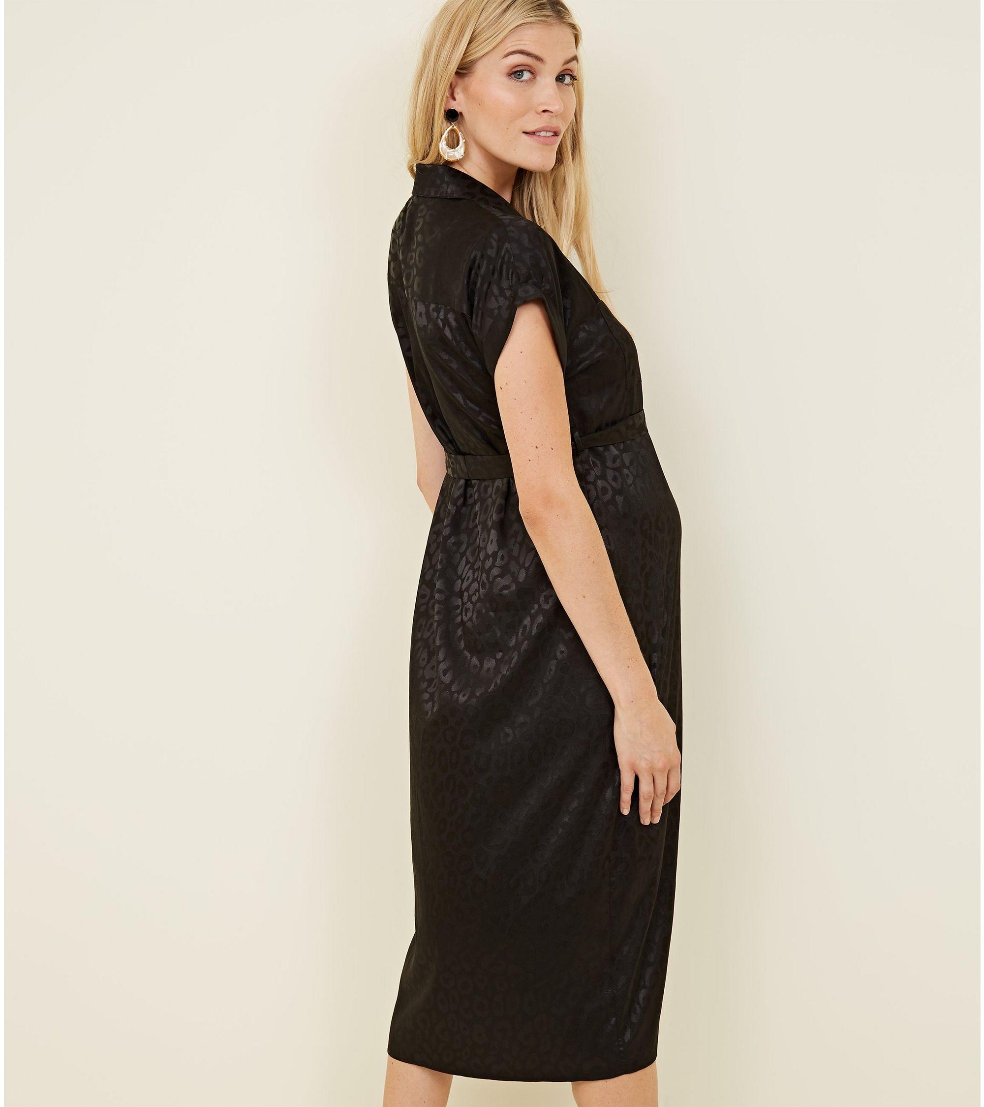 0e73c2f1e9bf New Look Maternity Black Leopard Print Jacquard Midi Shirt Dress at ...