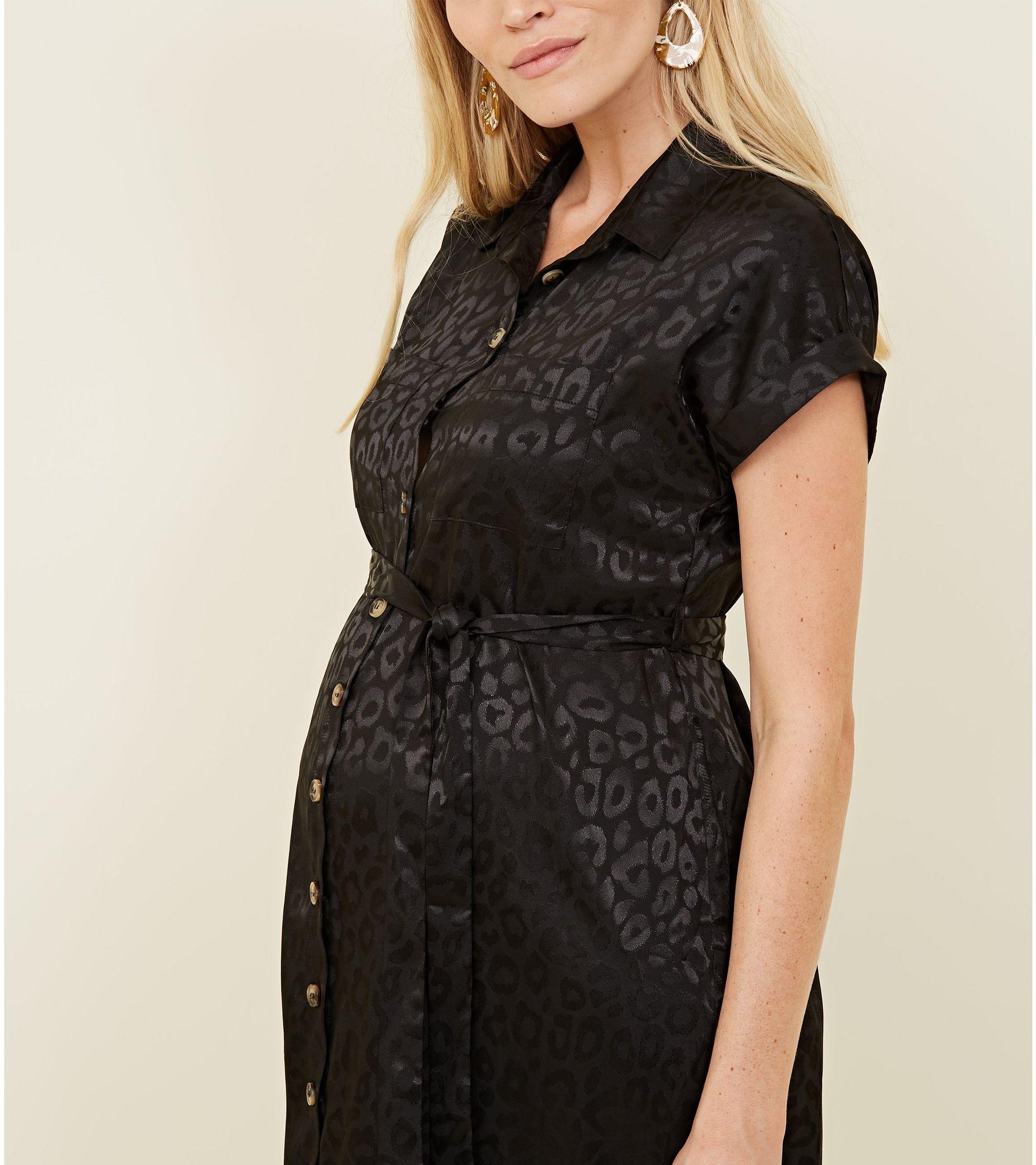 8225be1d28a New Look Maternity Black Leopard Print Jacquard Midi Shirt Dress at ...