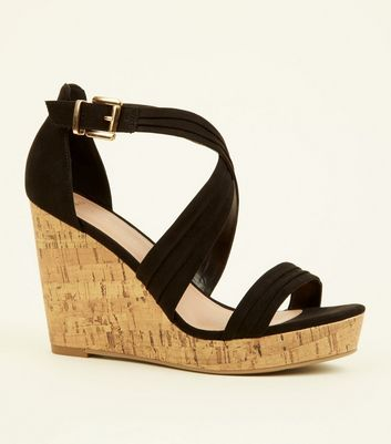 Wide Fit Black Suedette Cross Strap Wedges