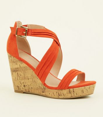 Wide Fit Orange Suedette Cross Strap Wedges