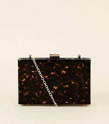 Brown Faux Tortoiseshell Box Clutch Bag