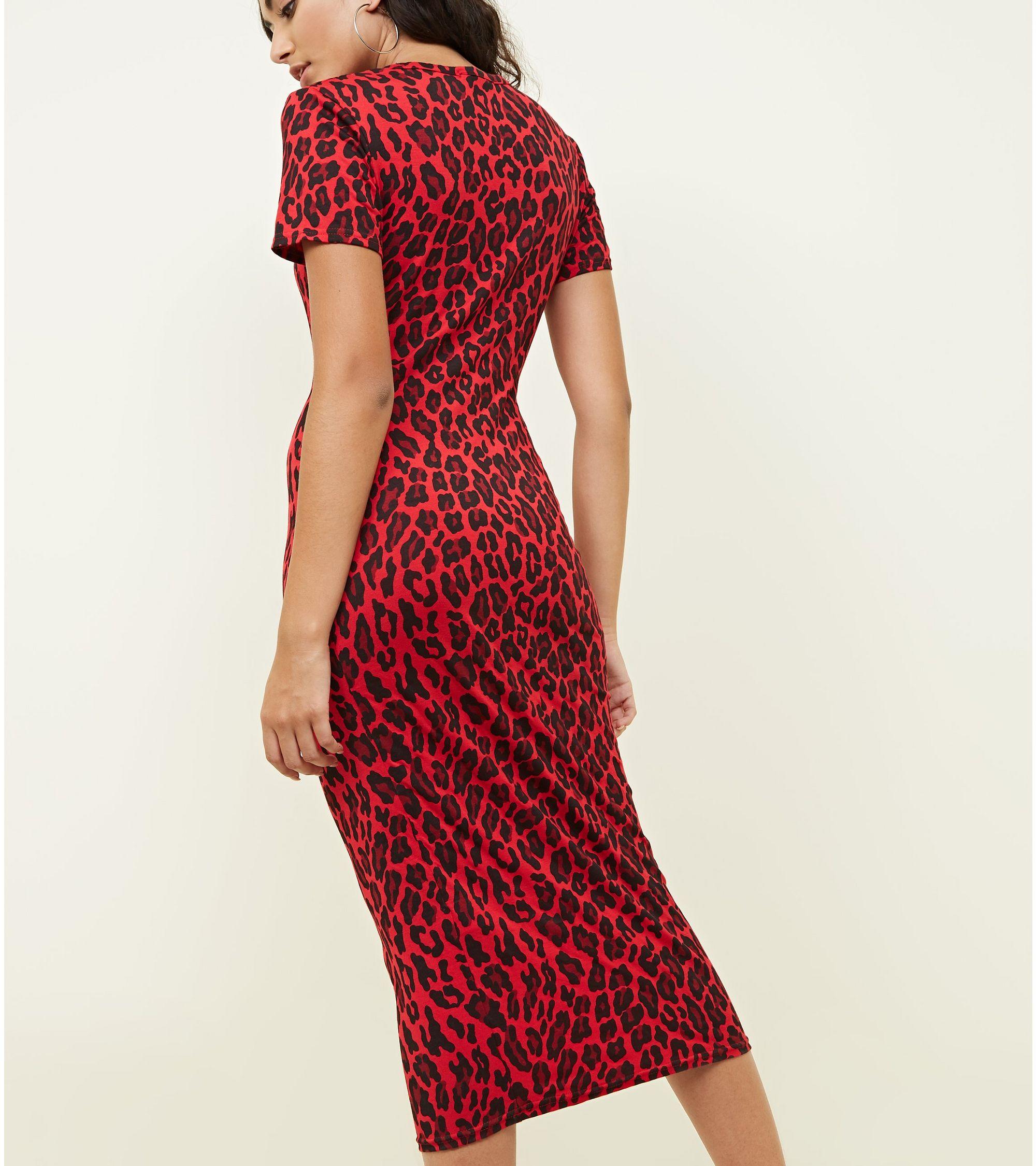 db073686176f New Look Cameo Rose Red Leopard Print Midi Dress at £12   love the ...