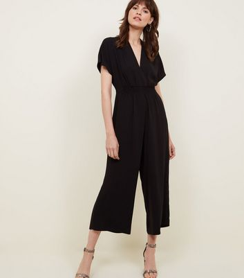 Black Shirred Waist Cropped Jumpsuit by New Look