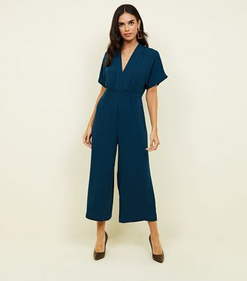 Teal Shirred Waist Cropped Jumpsuit by New Look