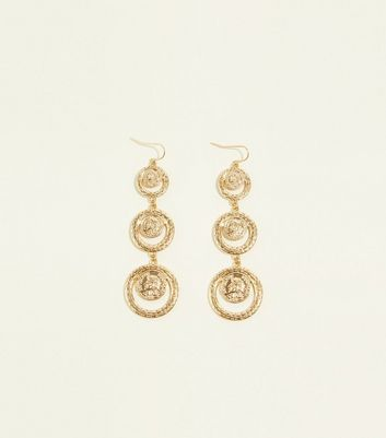 Re Born Gold Graduated Coin Drop Earrings by New Look